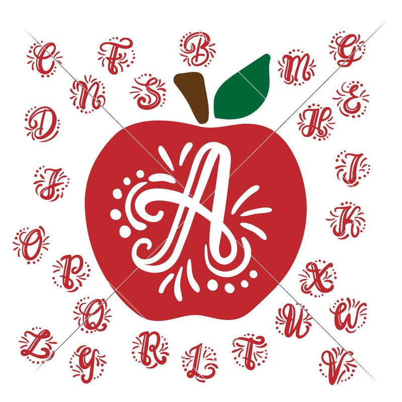 Monogram Letter Initials with Apple svg png dxf SVG DXF PNG Cutting File