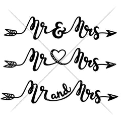Mr And Mrs Arrow Wedding Sign Svg Png Dxf Eps Svg Dxf Png Cutting File
