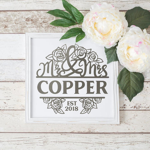 Mr and Mrs split Design with Roses for Wedding svg png dxf eps