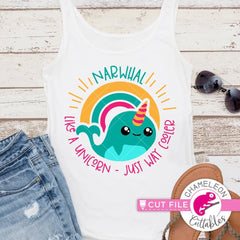 Narwhal - like a unicorn just way cooler svg png dxf eps SVG DXF PNG Cutting File