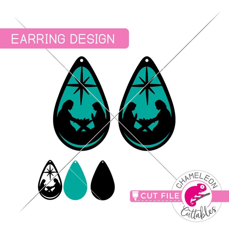 Nativity Scene Earring Template svg png dxf eps SVG DXF PNG Cutting File