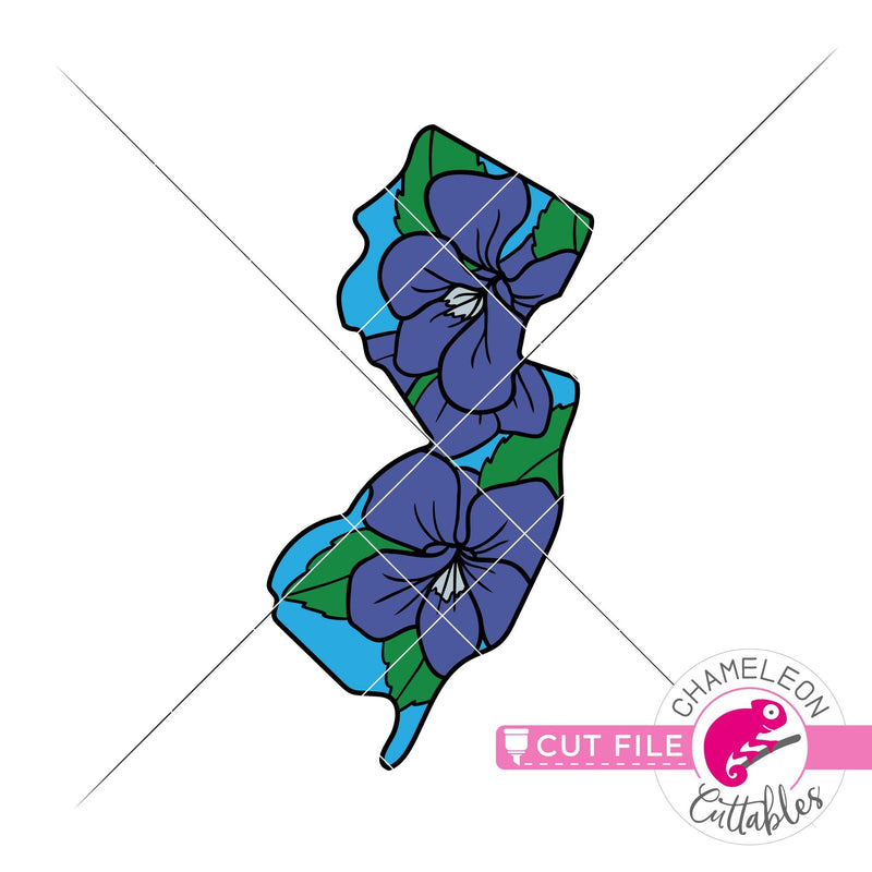New Jersey state flower violet layered svg png dxf eps jpeg SVG DXF PNG Cutting File