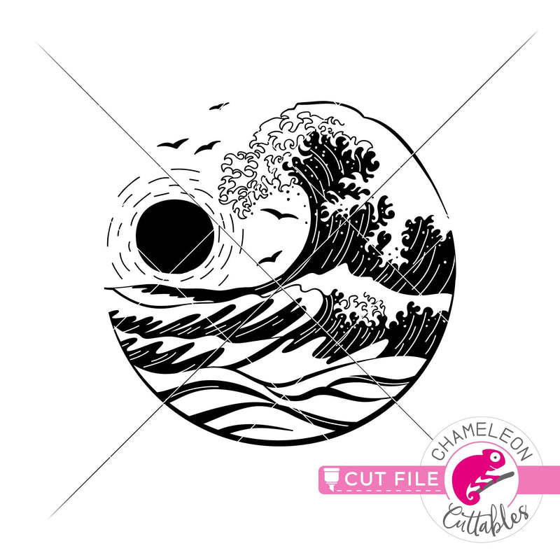 Ocean wave sunset drawing circle svg png dxf eps jpeg SVG DXF PNG Cutting File