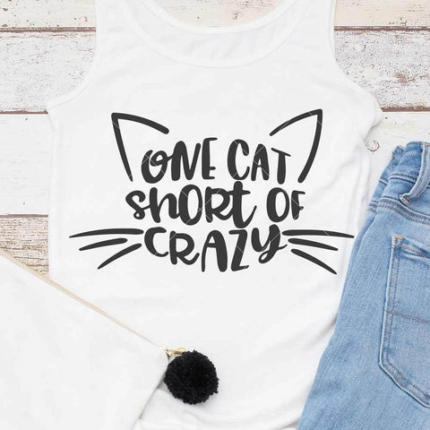 One cat short of crazy svg png dxf eps
