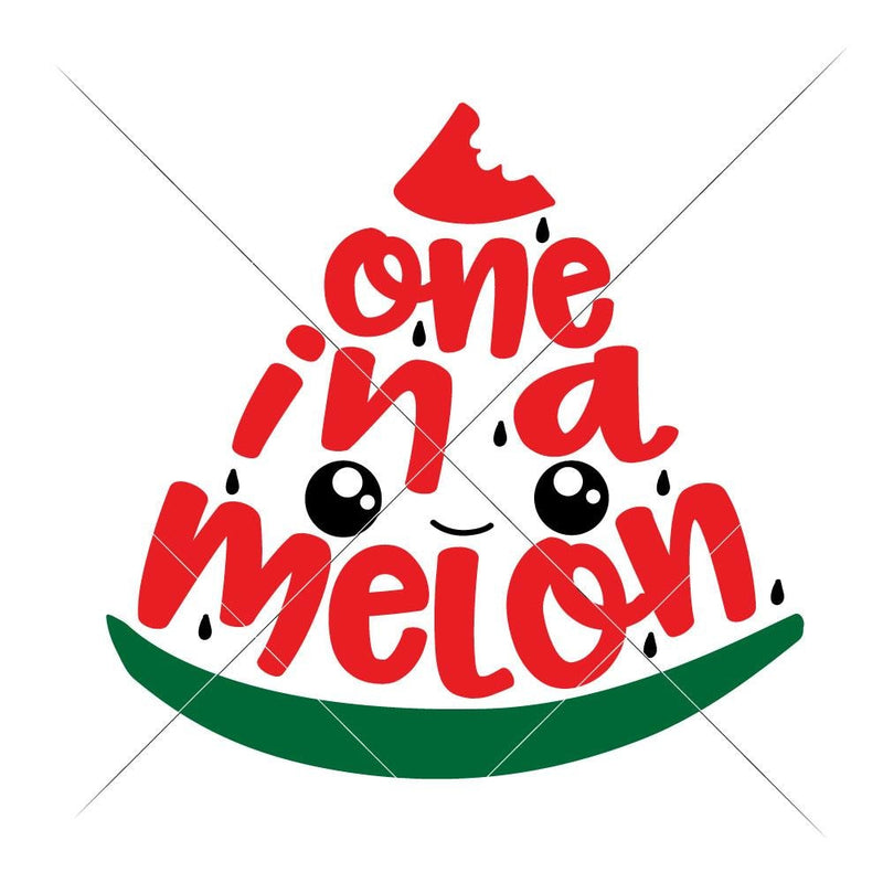 One In A Melon Watermelon Slice With Cute Face Svg Png Dxf Eps Svg Dxf Png Cutting File