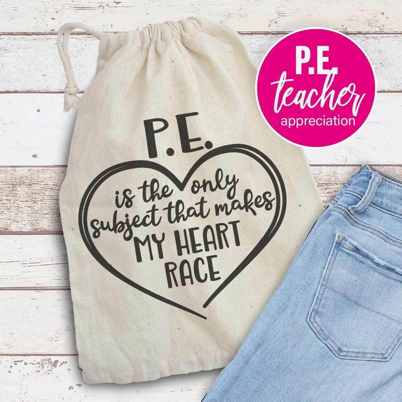 P.e. Is The Only Subject That Makes My Heart Race - Pe School Teacher Appreciation Svg Png Dxf Eps Svg Dxf Png Cutting File