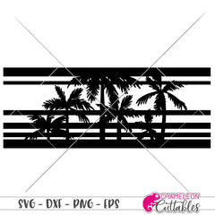 Palm Tree Stripes svg png dxf eps SVG DXF PNG Cutting File