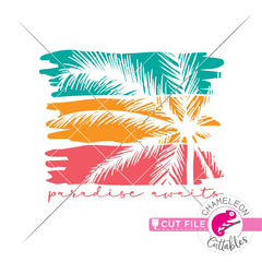 Paradise awaits palm tree svg png dxf eps jpeg SVG DXF PNG Cutting File