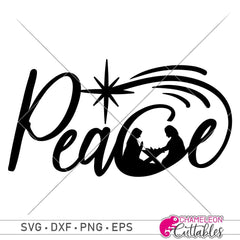 Peace With Nativity Scene Svg Png Dxf Eps Svg Dxf Png Cutting File
