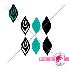 Peacock feather inspired Earring Template svg png dxf eps SVG DXF PNG Cutting File