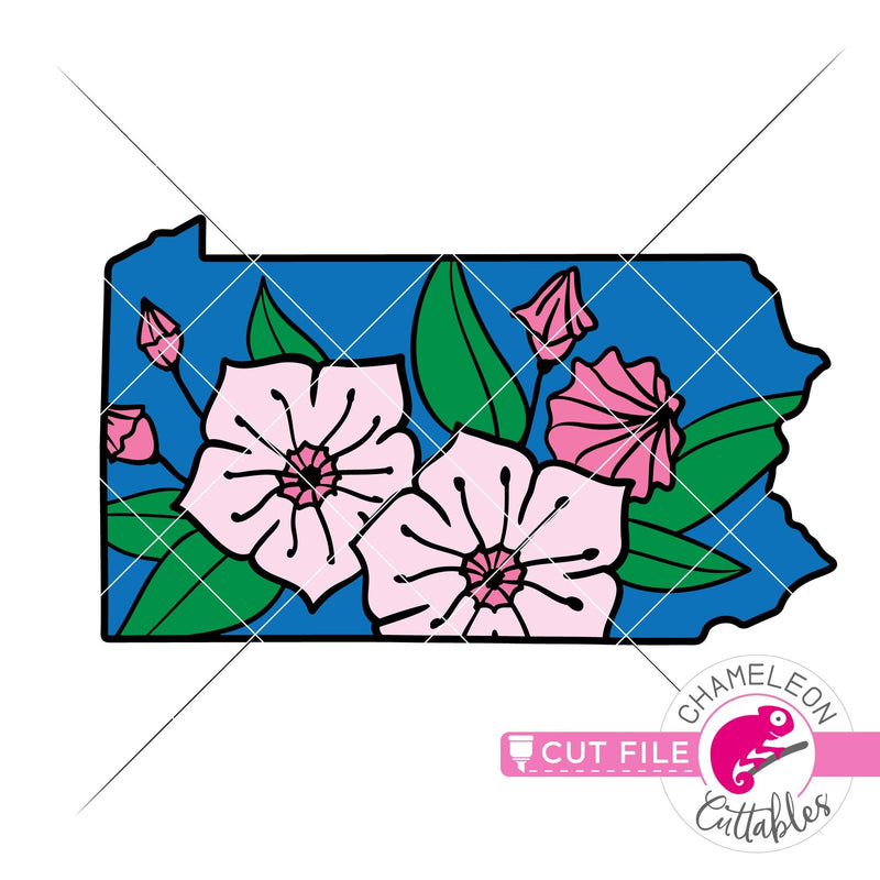 Pennsylvania state flower mountain laurel layered svg png dxf eps jpeg SVG DXF PNG Cutting File