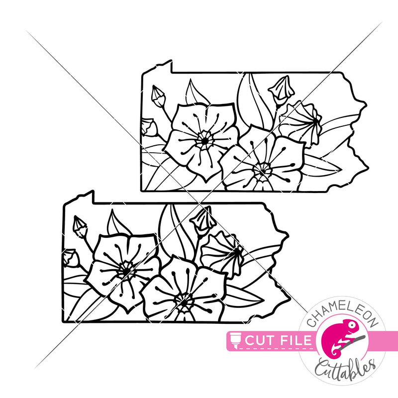 Pennsylvania state flower mountain laurel outline svg png dxf eps jpeg SVG DXF PNG Cutting File