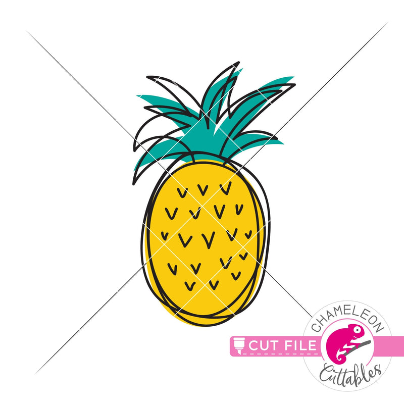 Pineapple sketch drawing svg png dxf eps jpeg SVG DXF PNG Cutting File