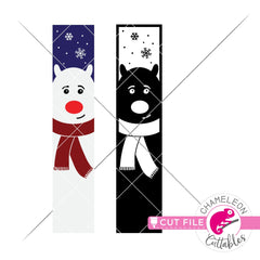 Polar Bear winter porch sign vertical svg png dxf SVG DXF PNG Cutting File