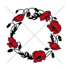 Poppy Flower Wreath Svg Png Dxf Eps Svg Dxf Png Cutting File