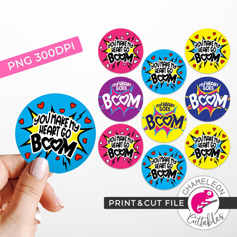 Boom Valentines Stickers PNG Print and Cut