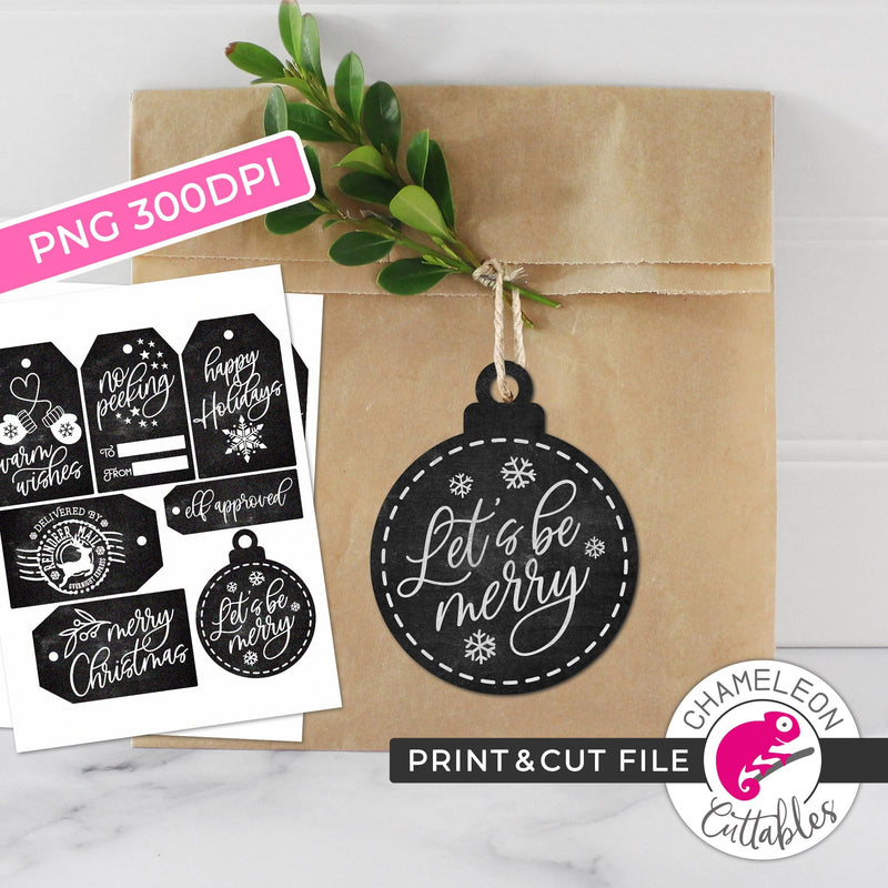 Print and Cut Christmas Chalkboard Tags Bundle PNG Print and Cut