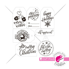 Print and Cut Christmas Tags PNG Print and Cut