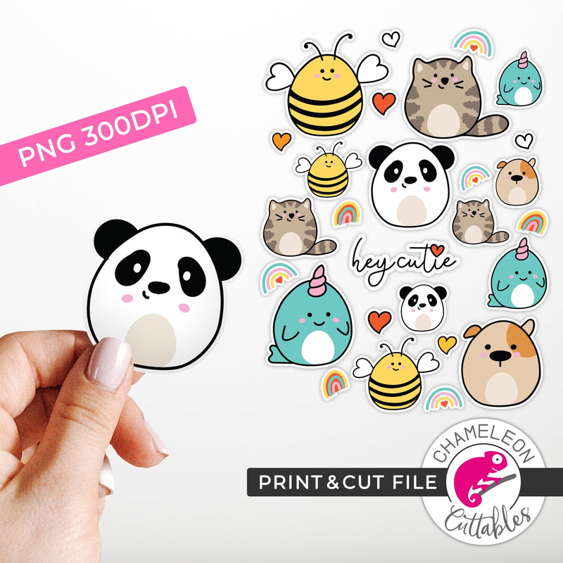 Print and Cut Cute Animal Stickers PNG Print and Cut