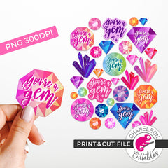 Print and Cut You're a Gem Crystals Gemstones Stickers PNG Print and Cut