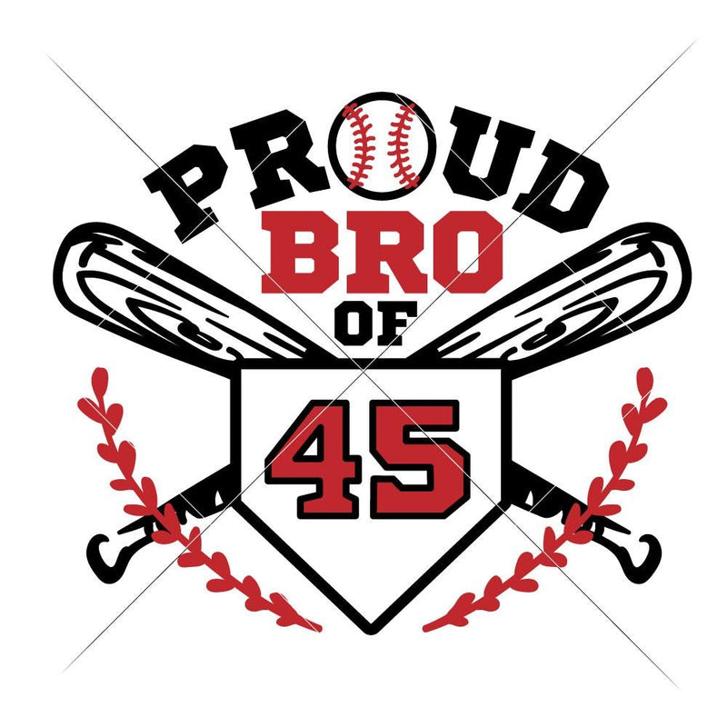 Proud Baseball Brother jersey number svg png dxf eps SVG DXF PNG Cutting File