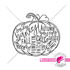 Pumpkin fall word art circle svg png dxf eps jpeg SVG DXF PNG Cutting File