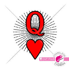 Queen of Hearts Card Rays Valentines day svg png dxf eps jpeg SVG DXF PNG Cutting File