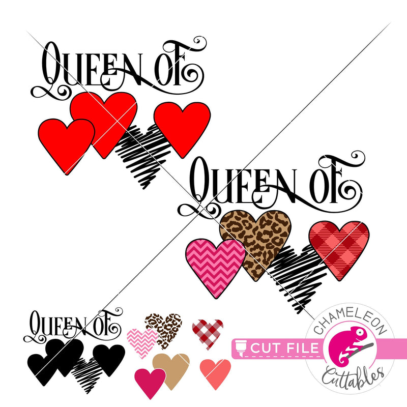 Queen of Hearts Pattern Valentines day svg png dxf eps jpeg SVG DXF PNG Cutting File