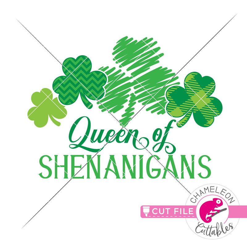 Queen of Shenanigans St. Patricks Day clovers with pattern svg png dxf eps jpeg SVG DXF PNG Cutting File