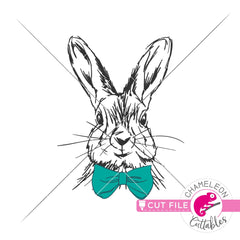 Rabbit sketch drawing Easter bunny boy with bow tie svg png dxf eps jpeg SVG DXF PNG Cutting File