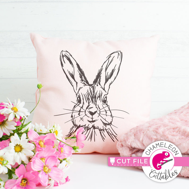 Rabbit sketch drawing Easter bunny svg png dxf eps jpeg SVG DXF PNG Cutting File