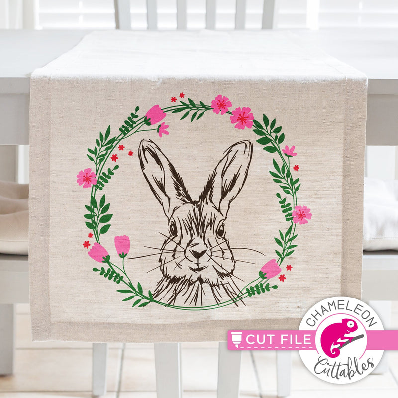 Rabbit sketch drawing Easter bunny with floral wreath svg png dxf eps jpeg SVG DXF PNG Cutting File
