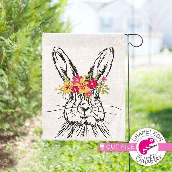 Rabbit Sketch Drawing Easter Bunny With Flowers Layered Svg Png Dxf Ep Chameleon Cuttables Llc
