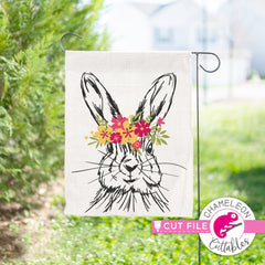 Rabbit sketch drawing Easter bunny with flowers layered svg png dxf eps jpeg SVG DXF PNG Cutting File
