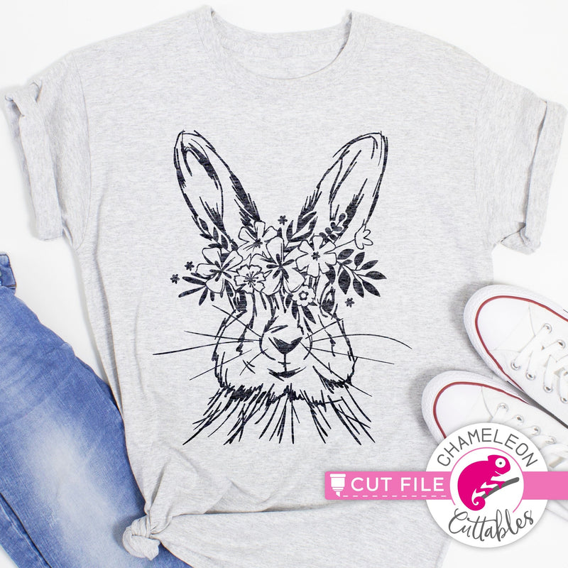 Rabbit sketch drawing Easter bunny with flowers svg png dxf eps jpeg SVG DXF PNG Cutting File