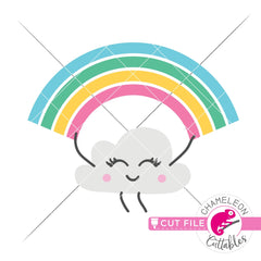Rainbow with cute cloud svg png dxf eps jpeg SVG DXF PNG Cutting File