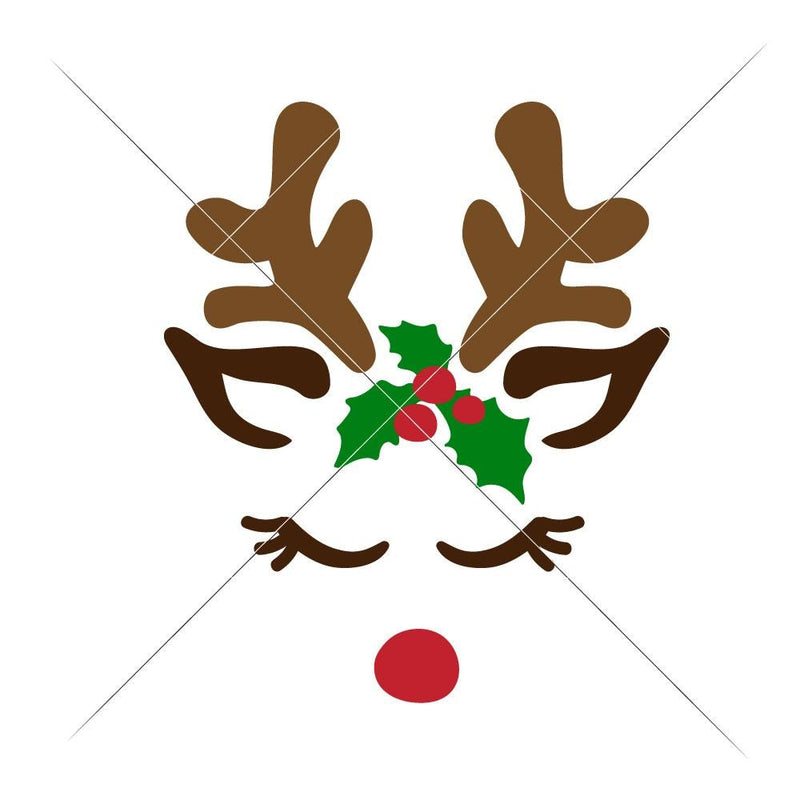 Reindeer Face Girl Svg Png Dxf Eps Svg Dxf Png Cutting File