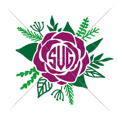 Rose For Monogram Svg Png Dxf Eps Svg Dxf Png Cutting File