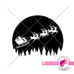 Santa reindeer sleigh in front of moon svg png dxf eps jpeg SVG DXF PNG Cutting File