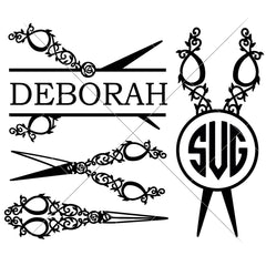 Scissors Monogram Frames For Hairdresser Hair Salon Svg Png Dxf Eps Svg Dxf Png Cutting File
