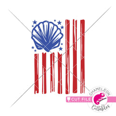 Sea Shell American Flag patriotic 4th of July Beach svg png dxf eps jpeg SVG DXF PNG Cutting File
