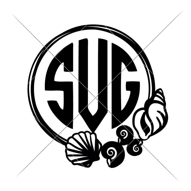 Sea Shells Circle For Monogram Svg Png Dxf Eps Svg Dxf Png Cutting File