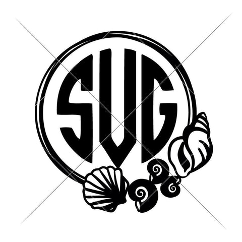 Sea Shells Circle for Monogram svg png dxf eps