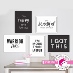 Self love bundle with 5 encouraging quotes svg png dxf eps jpeg SVG DXF PNG Cutting File