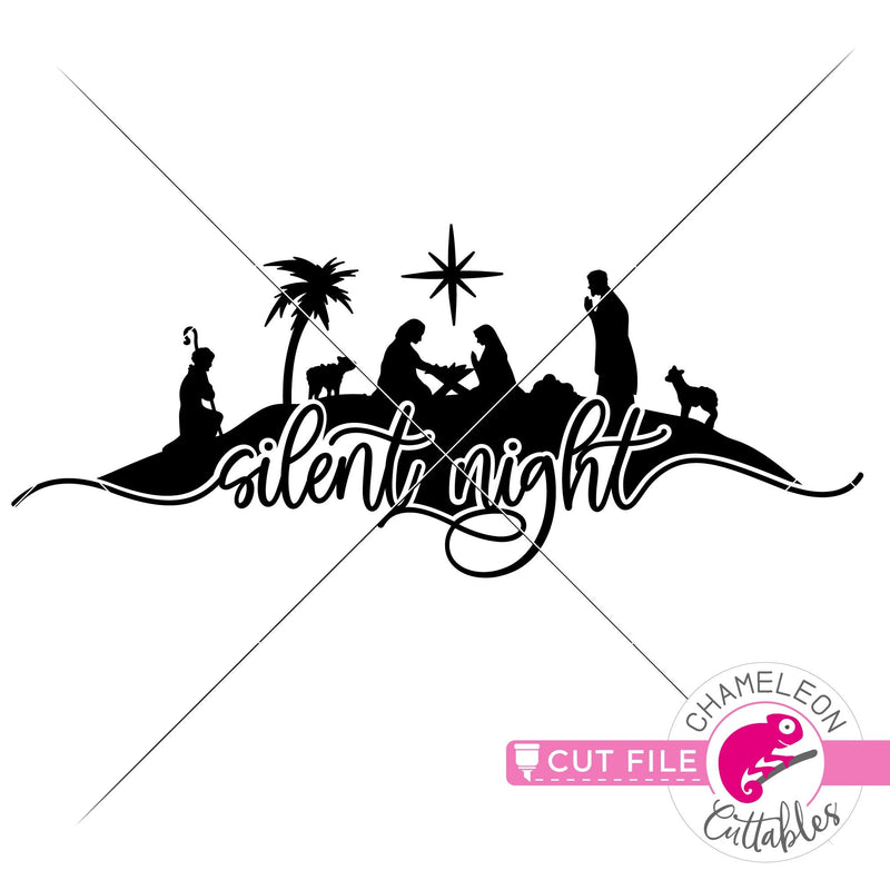 Silent Night Nativity Scene horizontal svg png dxf eps jpeg SVG DXF PNG Cutting File