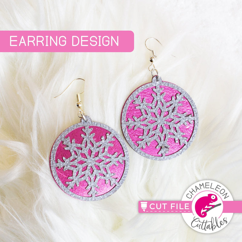 Snowflake Circle Earring Template svg png dxf eps SVG DXF PNG Cutting File