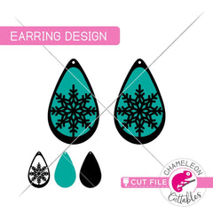 Snowflake Drop Earring Template svg png dxf eps SVG DXF PNG Cutting File