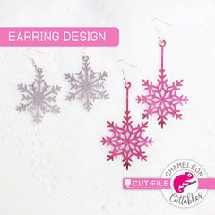 Snowflake Earring Template svg png dxf eps SVG DXF PNG Cutting File