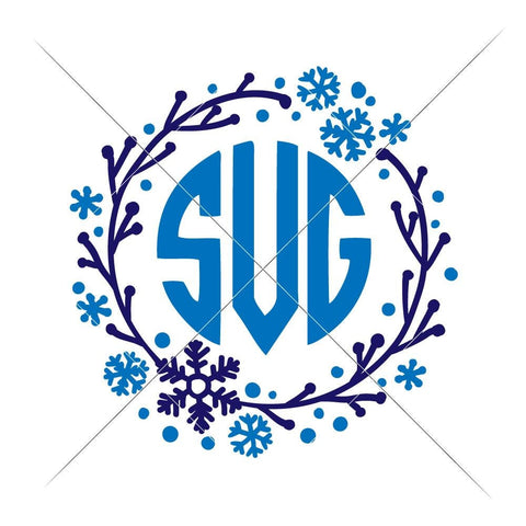 Snowflake Wreath for Monogram svg png dxf eps