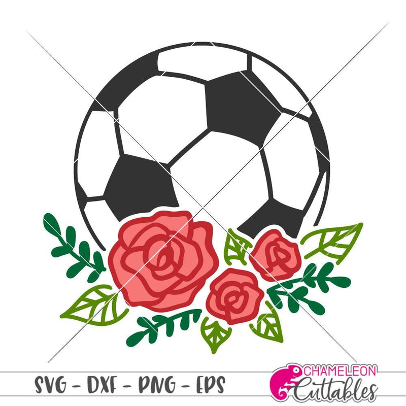Soccer Ball with Flowers mc svg png dxf eps SVG DXF PNG Cutting File